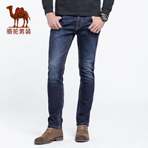 骆驼男装 2018秋季新款男士中腰直筒长裤子青年微弹酵素洗牛仔裤