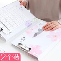双板文件夹板A4板夹写字板文具韩版小学生朗诵本子试卷夹板学生用折页板写字垫板翻盖双面夹卷子的夹子书夹子