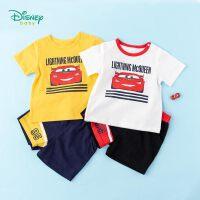 迪士尼Disney童装 男童纯棉套装圆领肩开短袖上衣简约五分短裤2件套2020年夏季新品儿童衣服