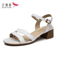 【红蜻蜓抢购,领�患�100】红蜻蜓正品女鞋夏季新款方头粗跟职业凉鞋搭扣凉鞋女