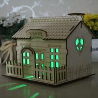 创意木质房子别墅小院带灯存钱罐储蓄罐送男生女朋友儿童生日礼物