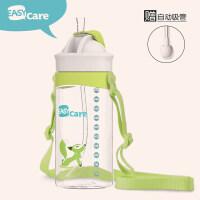 婴儿吸管杯宝宝防漏学饮杯幼儿园水杯儿童学生背带水壶a217 绿色 400ml(背带款)