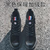 2018冬季新款韩版短靴女复古磨砂皮坡跟马丁靴加绒内增高女鞋8cmSN0858