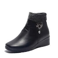 冬季妈妈鞋棉鞋中老年平底短靴老鞋加绒保暖防滑中年靴子女鞋 黑色