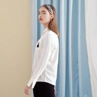 【1件4折叠券约:54.1,12日0点】美特斯邦威衬衫女韩版学生时尚气质纯色清新绒感衬衣2019春季新款