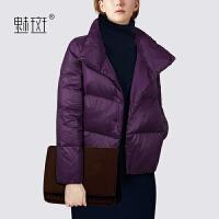 【新年狂欢到手价:668.5】魅斑轻薄短款羽绒服女秋冬2019新款宽松小个子保暖时尚羽绒外套