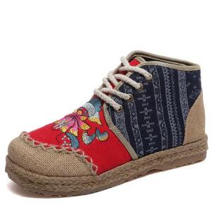 WARORWAR新品YM57-G8013冬季民族风平底舒适女士靴子马丁靴