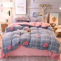 新品秒杀网红床单四件套加厚款法兰绒单人床学生宿舍床上三件套被套公主风