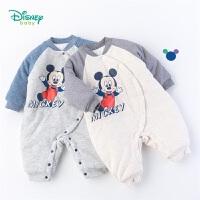 迪士尼Disney童装 男童夹棉侧开连体衣冬季新品米奇印花爬服婴幼儿加厚哈衣194L810
