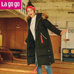 Lagogo2017年冬季新款黑色大毛领中长款加厚外套连帽保暖羽绒服女
