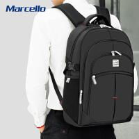 商务男士双肩包笔记本电脑包男女韩版学生书包时尚旅行背包 黑色 加大升级版