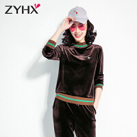 自由呼吸金丝天鹅绒运动服套装女秋装新款长袖时尚韩版休闲两件套