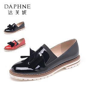 Daphne/达芙妮 时尚漆皮流苏低跟套脚乐福鞋女单鞋