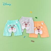 迪士尼Disney童装 宝宝运动短裤夏季新款男女童草莓熊哈伦裤透气五分裤192K831