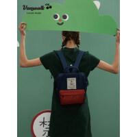 VANWALK迷你女日系可爱高中学生书包纯色韩版手提出走背包双肩包