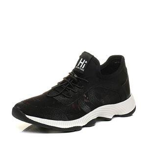 BASTO/百思图2017秋季专柜同款黑色编织布/珠光PU运动风男休闲鞋BPS04CM7