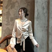 春季新款复古优雅色系不规则腰部绑带设计气质西装领长袖衬衣女