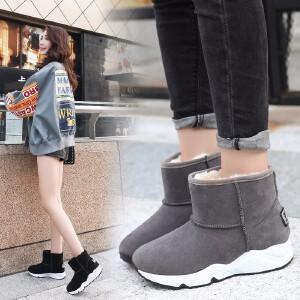 女式 2018新款雪地靴女纯色加厚厚底学生韩版短靴棉鞋