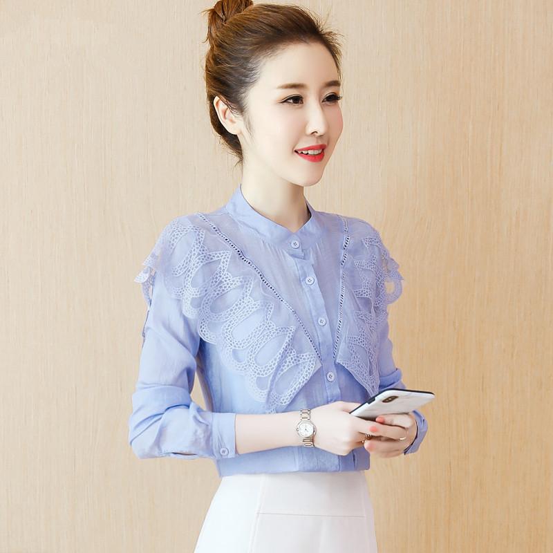 秋装女装2018新款韩版百搭时尚长袖荷叶边雪纺衬衫气质上衣潮
