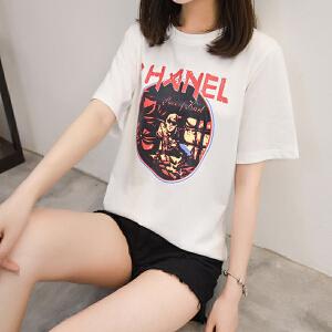 短袖t恤女2018春夏季新款韩版初中高中学生宽松大码体恤打底衫潮