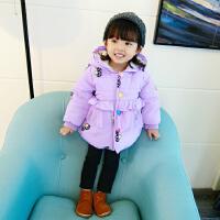 反季女宝宝加绒外套婴幼儿百搭加厚棉衣儿童周岁女童公主棉衣 紫色 蘑菇款棉衣