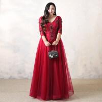 新娘敬酒服2018新款中袖V领大码胖mm结婚礼服回门服长款红色春季 长款礼服