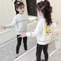 儿童毛衣女冬装2018新款洋气女宝宝卡通百搭针织衫 绒女童毛衣 白色