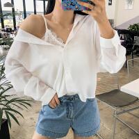 韩都衣舍2019夏装新款女装韩版雪纺宽松两件套长袖衬衫JM9820�R