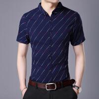夏季中年男士短袖�r衫修身�n版�r衣休�e男�b40-50�q父�H爸爸�b