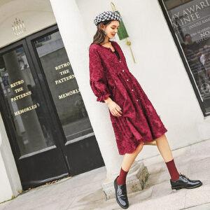 七格格连衣裙女春装2019新款七分袖韩版时尚高腰宽松酒红色裙子潮