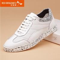 【领�幌碌チ⒓�120】红蜻蜓真皮男单鞋正品运动休闲鞋子系带小白鞋板鞋男鞋