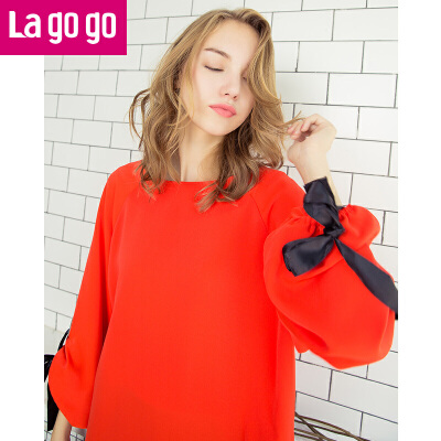 Lagogo/拉谷谷2017秋季新款女装圆领织带长袖上衣宽松T恤女