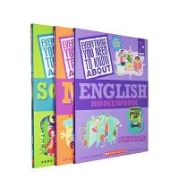 (198减40)学乐英文原版 Everything You Need To Know Homework 3册练习册 科学 英语 历史 数学