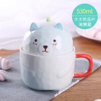 可爱卡通陶瓷杯子马克杯带盖勺咖啡杯办公室水杯麦片牛奶杯早餐杯a233
