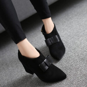 WARORWAR新品YM29-6635-3秋冬欧美粗跟高跟女士靴子切尔西靴裸靴