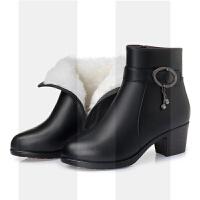 秋冬季真皮女短靴保暖粗跟妈妈棉鞋羊毛棉靴中年大码加绒皮鞋中跟SN2634