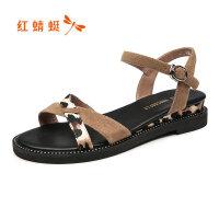 【红蜻蜓限时抢购,1件2折】红蜻蜓夏季新款时尚百搭凉鞋豹纹条拼色平跟舒适休闲女鞋