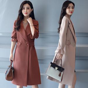 风轩衣度 纯色休闲时尚潮流优雅气质长袖V领风衣2018年春季新款 1756