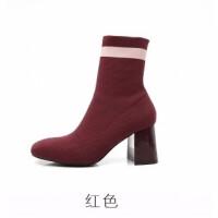 弹力布靴子女2018秋冬季新款弹力布袜子靴红色毛线方头短靴子高跟女鞋潮 TBP