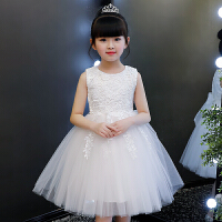 女童连衣裙夏装公主裙2018新款童装女孩韩版夏季儿童纱裙洋气裙子 白色 【送发箍】