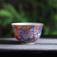 手工陶瓷功夫茶杯单杯景德镇彩色掐丝万花品茗杯手绘个人小茶杯 掐丝万花杯