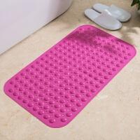 超大浴室防滑垫PVC塑料淋浴洗澡防水垫子防摔地垫家用长方形大号 枚红色 防滑不沾发 草莓款