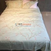 夏季竹纤维床单加厚加密单人双人床单竹炭纤维软凉席老粗布 明黄色 绿枝(三件套) 230cmx250cm