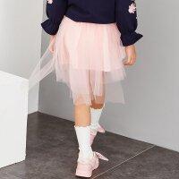 【1.18超品日全场2件2.5折,到手价:55】米喜迪mecity童装女童秋装新款不规则层次网纱半身裙