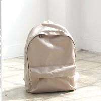 韩国新款双肩包女背包防水时尚简约纯色书包中学生女百搭 卡其色 现货