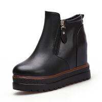 2018冬秋新款坡跟厚底内增高短靴单靴百搭冬季棉鞋马丁靴棉靴短筒