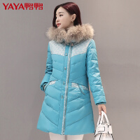 鸭鸭(YAYA)2018秋冬新款女装连帽毛领羽绒服女中长款修身时尚外套B-5423