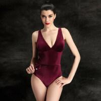 天鹅绒泡温泉泳衣女 新款连体三角保守小胸大码遮肚显瘦泳装女士游泳衣