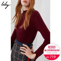 【100%纯羊绒】Lily2018秋新款女装纯色全羊绒毛衣修身打底羊绒衫