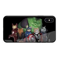 妇联4苹果X手机壳7p猫咪8plus复仇者联盟iPhoneXR钢化玻璃XS MAX iPhone X 轻薄款玻璃壳